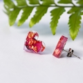 Resin Heart Earrings Pink Studs Rose Petals & Copper BlackwoodLily