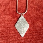 Koi Carp and Rose Recycled Silver Pendant on a chain