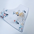 Baby Fawn on white Bandana bib