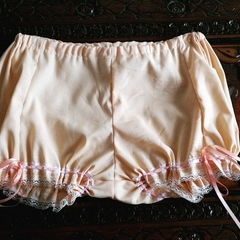 Peach bloomers with a lace trim!