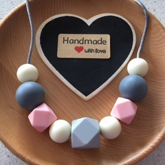 Silicone Sensory Necklace for Mum (was teething) Gift Pink Jewellery Handmade