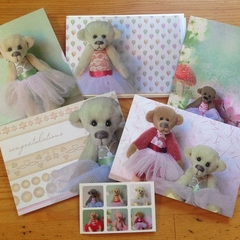 Greeting Cards - pack of 5 - miniature ballerina bears