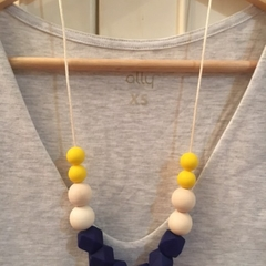Silicone Sensory Necklace for Mum (was teething) Gift Blue Jewellery Handmade