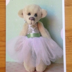Greeting card featuring 'Evie' - a Bearly Bears miniature ballerina teddy bear