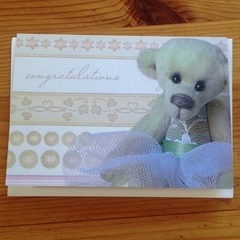 Congratulations card featuring 'Evie' - a Bearly Bears miniature ballerina bear
