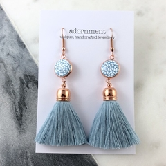 Polymer clay tassel earrings with rose gold plated earring hooks - turquoise