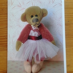 Greeting card featuring 'Alice' - a Bearly Bears miniature ballerina teddy bear