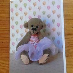 Greeting card featuring 'Sophia' - a Bearly Bears miniature ballerina teddy bear