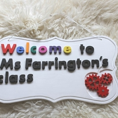 Personalized Classroom Welcome Wood Sign, Custom made with  name, color, shape