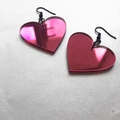 Large pink heart dangles