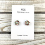 Handcrafted polymer clay stud earrings- autumn floral