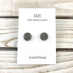 Handcrafted polymer clay stud earrings- granite grey glitter stone