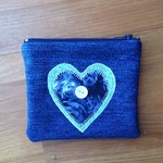 Upcycled Denim Purse with Blue Heart