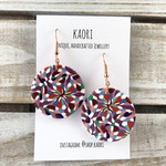 Handcrafted polymer clay earrings with rose gold plated hooks- aqua coral floral