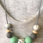 Silicone Sensory Necklace for Mum (was teething) Gift Mint Jewellery Handmade