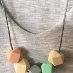 Silicone Sensory Necklace for Mum (was teething) Gift Pastel Jewellery Handmade
