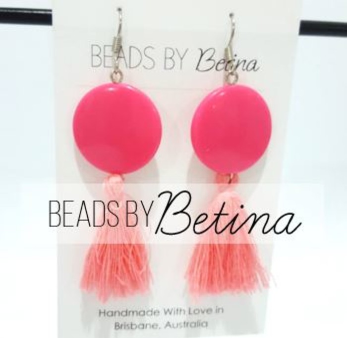 Bee Bold Pink Tel Earrings Beadsbybetina X Booplesnoot Designs Madeit Au