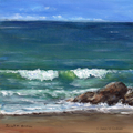 Sea, Ocean, Wave, Rocks, Original Seascape Acrylic painting, Beach Cottage decor