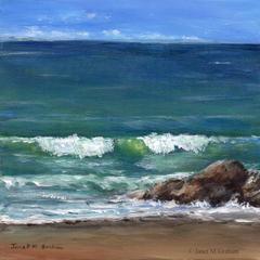 Sea, Ocean, Wave, Rocks, Original Seascape Acrylic painting, Beach Cottage decor