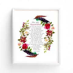 Boho Feather Print, Printable Quotes, Wall Art Printable Art
