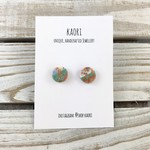 Handcrafted polymer clay stud earrings- green, peach, white and copper leaf