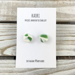 Handcrafted polymer clay stud earrings- jade green and white
