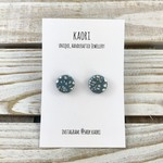Handcrafted polymer clay stud earrings- silver leaf steel blue