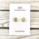 Handcrafted polymer clay stud earrings- jade green and gold leaf