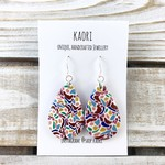 Handcrafted polymer clay earrings sterling silver hooks- rainbow spots