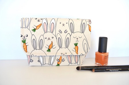 Bunny gift, cosmetic bag, make up pouch