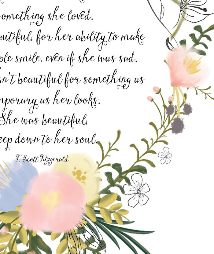 Quotes Art Calligraphy Print She Was Beautiful F Scott Fitzgerald