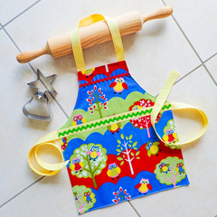 Kids/Toddlers Apron -  Hootie Owl - lined kitchen/craft/play apron