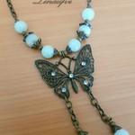Necklace - Butterfly - Bronze - Quartz - Gemstone - Pale Green - N055