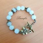 SALE - Bracelet - Bronze - Pale Green - Quartz - Gemstone - Flower -  B054