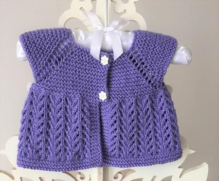 0-3 mths Baby Vest Cardi, Lavender, Cotton, Hand Knit