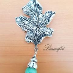 SALE 40% Brooch - Leaf - Antique Silver - Green Jade - Gemstone - Large - BR057