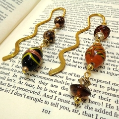 Two Gold Beaded Bookmarks for Book Lovers, Gifts