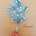Brooch - Leaf - Antique Silver - Red Agate - Gemstone - Large - BR056