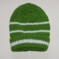 Knitted baby boy- pistachio green with white stripe