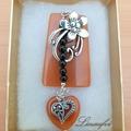 Brooch - Brown - Black - Agate - Flower - Heart - Antique Silver - BR058