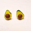 Avocado studs -miniature avocado polymer clay earrings - Half avocados with pips