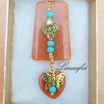 Brooch - Brown - Agate - Antique Gold - Turquoise - Howlite - Gemstones -BR058