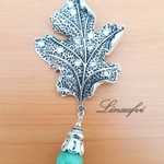 Brooch - Leaf - Antique Silver - Green Jade - Gemstone - Large - BR057