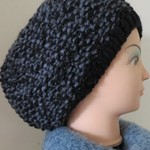 Beanie - Hand Knitted -  Black and Grey