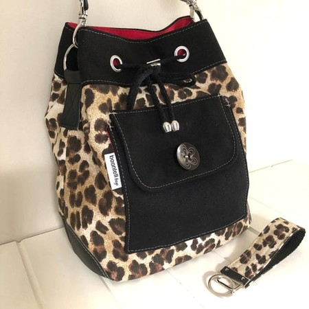 Bucket Bag in Leopard Print Fabric, Canvas and Faux Leather with MatchingKey Fob