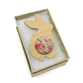 Kimono Easter Bunny Brooch - Violet Blossom