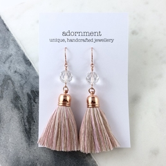 Crystal tassel earrings with rose gold plated earring hooks - nude pink