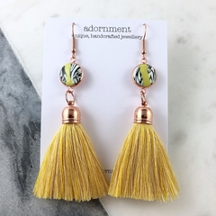 Polymer clay tassel earrings with rose gold plated earring hooks -yellow