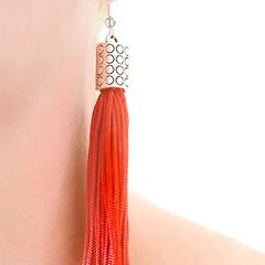 Burnt Orange Vintage Tassel & Swarovski Earrings   Boho Style   Vintage Tassels