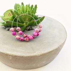 Hot Pink Beaded Hoop Earrings